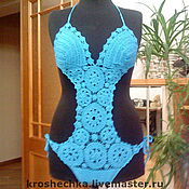 Одежда handmade. Livemaster - original item Cotton swimsuit Turquoise. Handmade.