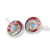 Украшения handmade. Livemaster - original item EARRINGS - Rainbow mosaic. Unique earrings with natural stones. Handmade.