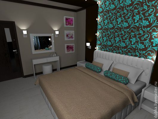 Дизайн интерьеров ручной работы. Ярмарка Мастеров - ручная работа. Купить Спальня 13 кв.м.. Handmade. Комбинированный, чертежи