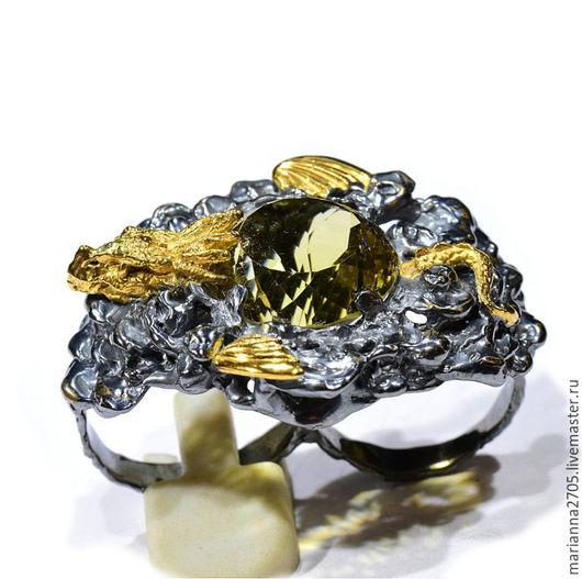 """Украшения для мужчин, ручной работы. Ярмарка Мастеров - ручная работа. Купить """"Солнечный дракон"""" серебряное мужское кольцо на два пальца с цитрином. Handmade."""