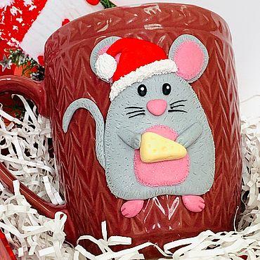 "Посуда ручной работы. Ярмарка Мастеров - ручная работа Кружка ""Крыс Санта"". Handmade."