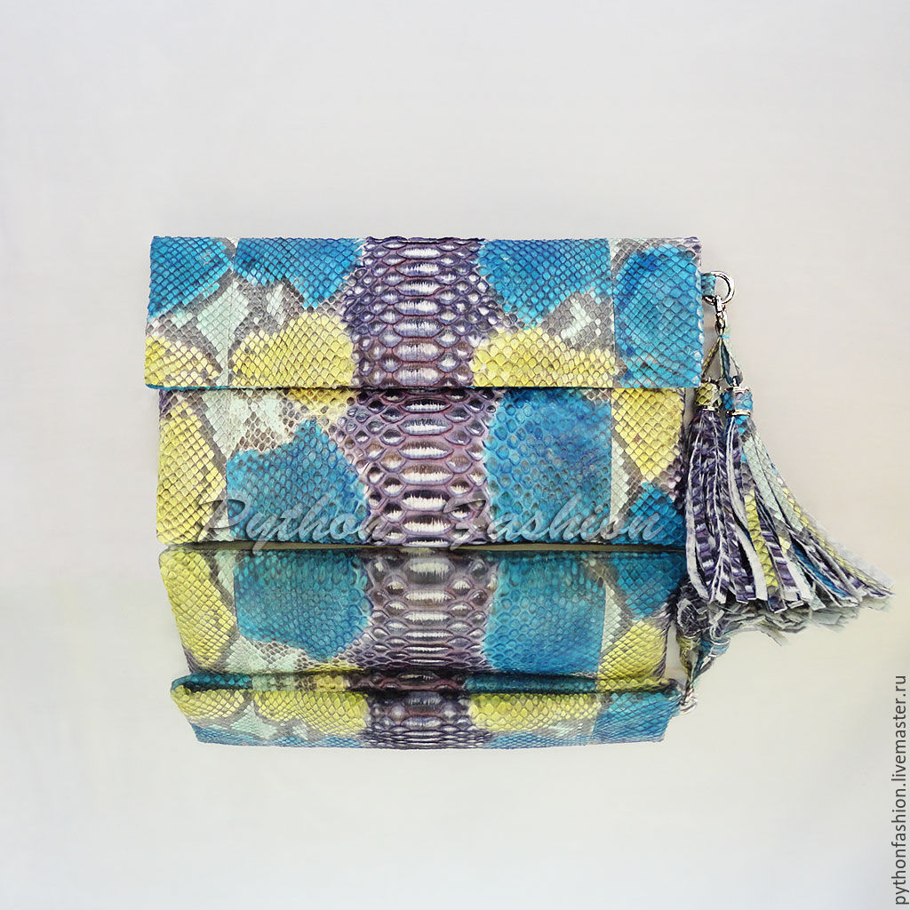 Clutch of Python. Classic clutch from Python. The clutch is of Python with tassels. Designer clutch handmade. Evening clutch made of Python. Clutch bag made from Python output. Bright clutch from Pyth
