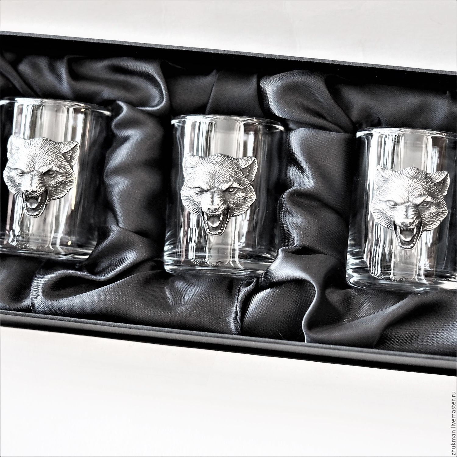 A set of stacks for three 'WOLVES' in box (stack of wolf hunters), Shot Glasses, Zhukovsky,  Фото №1