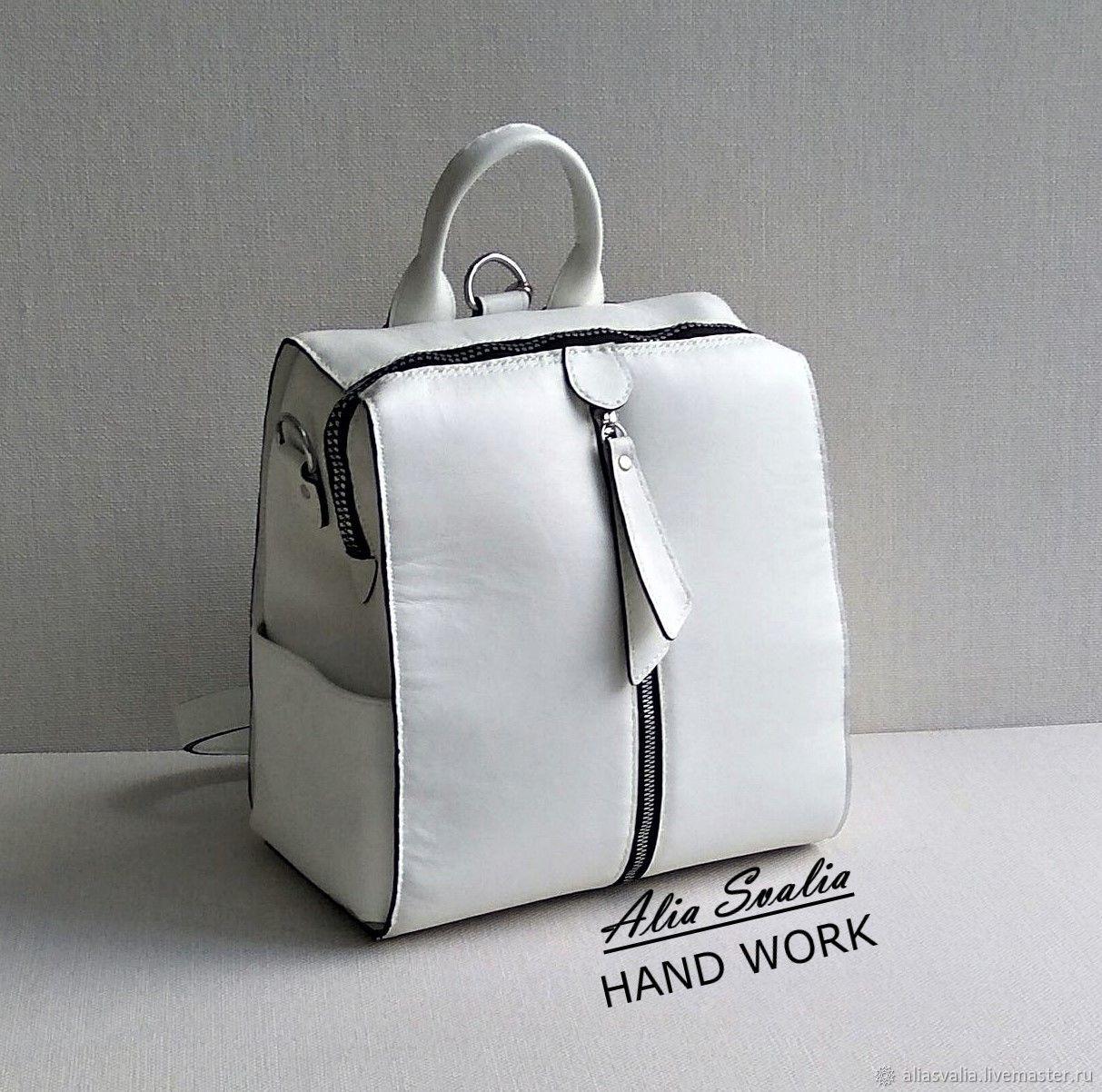Рюкзак белый кожаный W0194.Ручная работа.AliaSvalia, Рюкзаки, Калининград,  Фото №1