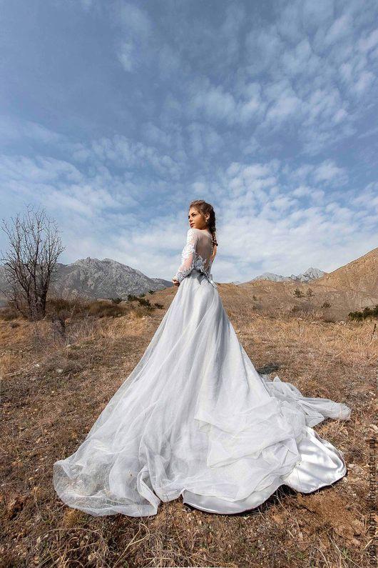 Одежда и аксессуары ручной работы. Ярмарка Мастеров - ручная работа. Купить Свадебное платье ELENA. Handmade. Серый, вышивка, длинное