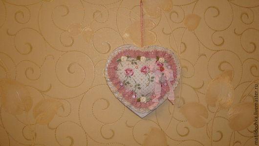 Подвески ручной работы. Ярмарка Мастеров - ручная работа. Купить Подвеска Сердечко в стиле шебби-шик. Handmade. Бледно-розовый