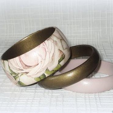 Украшения ручной работы. Ярмарка Мастеров - ручная работа Бежевые оливковые женские браслеты из дерева Пыльная роза Ретро. Handmade.