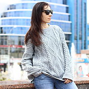 Одежда handmade. Livemaster - original item Grey cashmere braided sweater. Handmade.