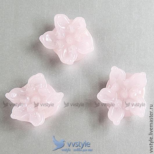 Для украшений ручной работы. Ярмарка Мастеров - ручная работа. Купить Бусина Цветок Розовые лепестки лампворк стекло 1шт. (bl-84402-143). Handmade.