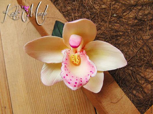 Заколки ручной работы. Ярмарка Мастеров - ручная работа. Купить Орхидея айвори и бордовая (украшение универсальное брошь - заколка). Handmade.