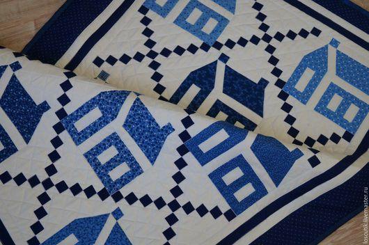 """Текстиль, ковры ручной работы. Ярмарка Мастеров - ручная работа. Купить Квилт-панно """"Домики"""". Handmade. Комбинированный, стеганное одеяло"""