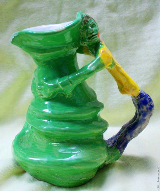Приколы ручной работы. Ярмарка Мастеров - ручная работа. Купить Кувшинчик «Пора остановиться». Handmade. Зеленый, Керамика, цветные глазури