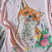 Одежда ручной работы. Ярмарка Мастеров - ручная работа футболка Лиса  и снег. Handmade.