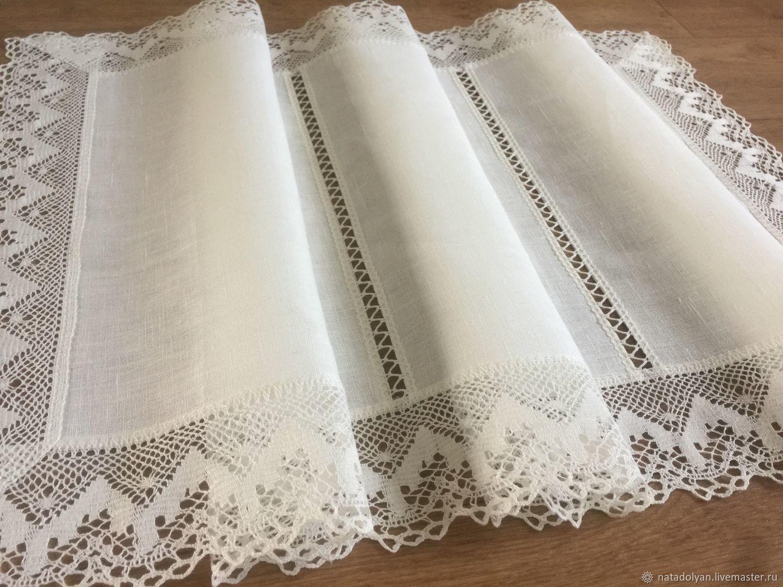 Linen path ' Lace, white', Tablecloths, Ivanovo,  Фото №1