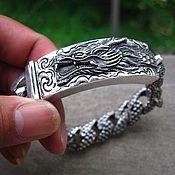 Браслет из бусин ручной работы. Ярмарка Мастеров - ручная работа Серебряный мужской браслет с драконом. Handmade.