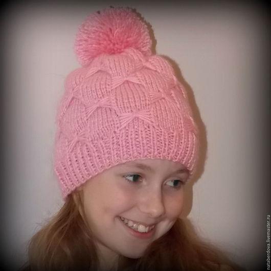 Шапки и шарфы ручной работы. Ярмарка Мастеров - ручная работа. Купить Вязаная шапка для девочки. Handmade. Розовый, шапка женская