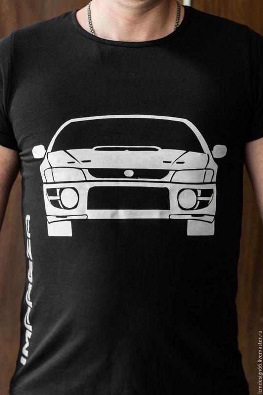 Футболки, майки ручной работы. Ярмарка Мастеров - ручная работа. Купить Subaru. Handmade. Роспись футболок на заказ, автомобиль