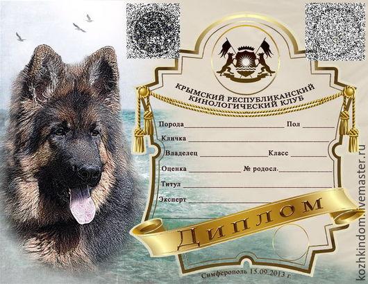 Разработка Диплома для выставки собак