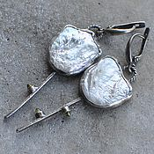 handmade. Livemaster - original item Earrings with pearls and peridots, silver. Handmade.