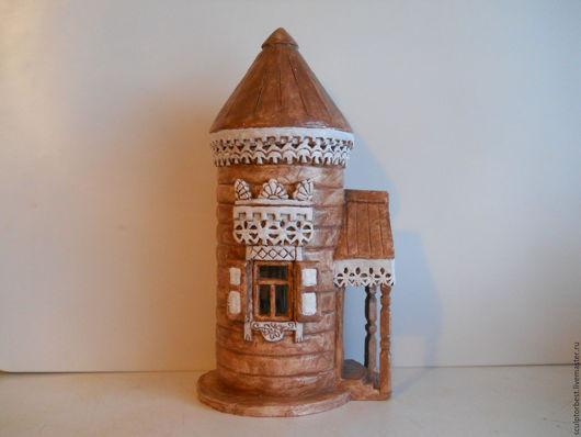 Статуэтки ручной работы. Ярмарка Мастеров - ручная работа. Купить керамический домик в русском стиле. Handmade. Коричневый, керамический домик