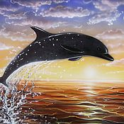 """Картины и панно ручной работы. Ярмарка Мастеров - ручная работа Картина """"Дельфин"""". Handmade."""