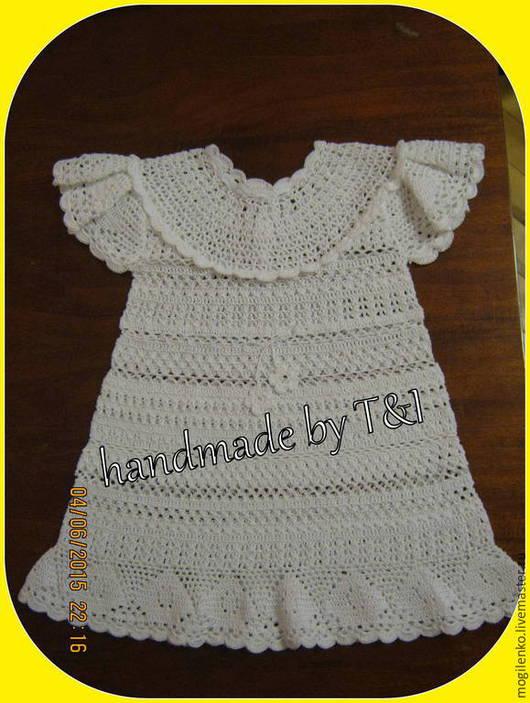 Одежда для девочек, ручной работы. Ярмарка Мастеров - ручная работа. Купить Платье вязаное ажурное. Handmade. Белый, платье вязаное