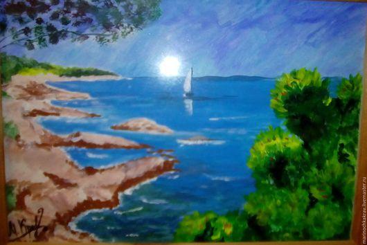 Пейзаж ручной работы. Ярмарка Мастеров - ручная работа. Купить глубокое синие море. Handmade. Комбинированный, пейзаж, волны
