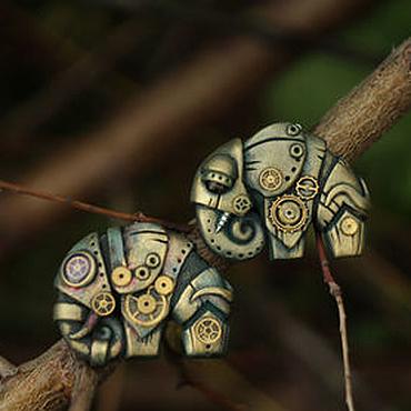 """Украшения ручной работы. Ярмарка Мастеров - ручная работа Steampunk кулон """"Оливковый слон"""". Handmade."""