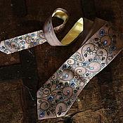 Аксессуары handmade. Livemaster - original item Taupe and blue hand painted silk tie with ornaments art, blue dots. Handmade.