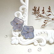 Украшения handmade. Livemaster - original item Stud earrings Blue Hydrangea White Blue Flower resin Earrings. Handmade.