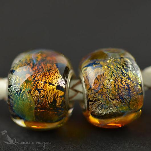 Сменные бусины для браслета, шарм, евро бусины. Авторское стекло, вставки серебро 925. Черный серебро, медовый, золотистый, переливающийся. Подарок девушке, подруге, женщине, любимой.