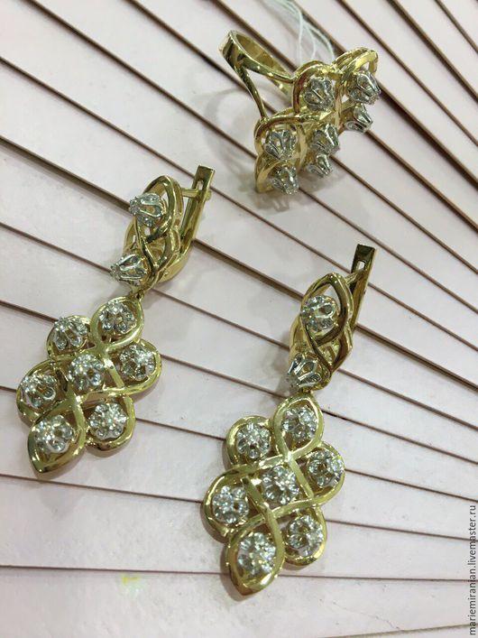 Комплекты украшений ручной работы. Ярмарка Мастеров - ручная работа. Купить Per Sempre. Кольцо и серьги с бриллиантами в золоте. Handmade.