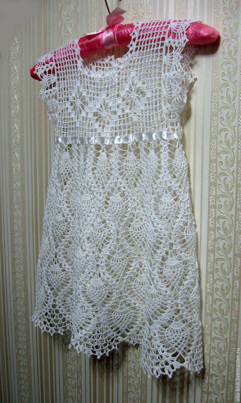 crocheted girl's dress, baby dress crocheted christening, Dress, Shahty,  Фото №1