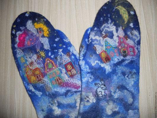 """Варежки, митенки, перчатки ручной работы. Ярмарка Мастеров - ручная работа. Купить Валяные варежки """"Самый добрый ангел"""". Handmade."""
