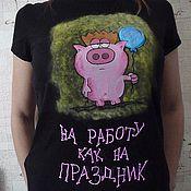 """Одежда ручной работы. Ярмарка Мастеров - ручная работа Рисунок на женской футболке """"Работничег"""". Handmade."""
