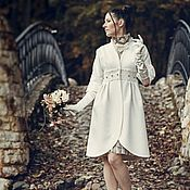 Одежда ручной работы. Ярмарка Мастеров - ручная работа Скидка 60%!Белое пальто с кружевным поясом.. Handmade.