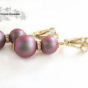Украшения handmade. Livemaster - original item Earrings gold plated with Swarovski pearls