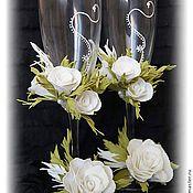 Свадебный салон ручной работы. Ярмарка Мастеров - ручная работа Свадебные бокалы с розами из фоамирана.. Handmade.