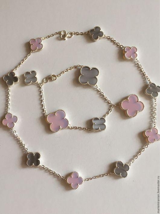 Кольца ручной работы. Ярмарка Мастеров - ручная работа. Купить Endless love, Alhambra. Гарнитур с кварцем и перламутром в серебре. Handmade.