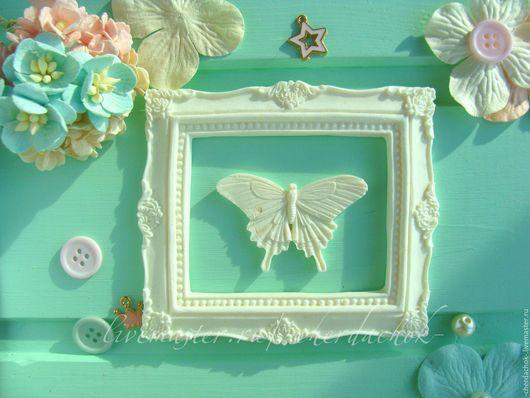 Открытки и скрапбукинг ручной работы. Ярмарка Мастеров - ручная работа. Купить Большая прямоугольная рамка с бабочкой. Handmade. Рамка