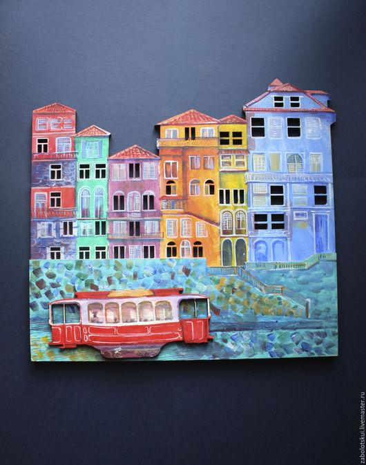 Город ручной работы. Ярмарка Мастеров - ручная работа. Купить Португалия. Handmade. Комбинированный, трамвай, панно на стену, украшение интерьера