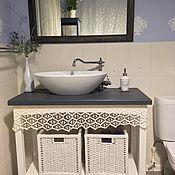 Комплекты аксессуаров для дома ручной работы. Ярмарка Мастеров - ручная работа Столик под раковину и зеркало. Handmade.
