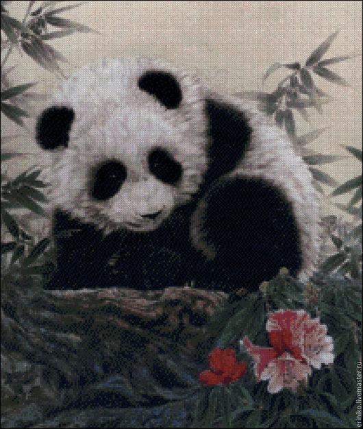 """Вышивка ручной работы. Ярмарка Мастеров - ручная работа. Купить Схема для вышивания крестиком """"Малышка панда"""". Handmade. Комбинированный, мишка"""