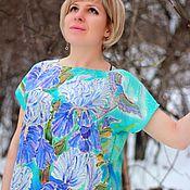 Одежда ручной работы. Ярмарка Мастеров - ручная работа Шёлковые ирисы Батик блуза. Handmade.