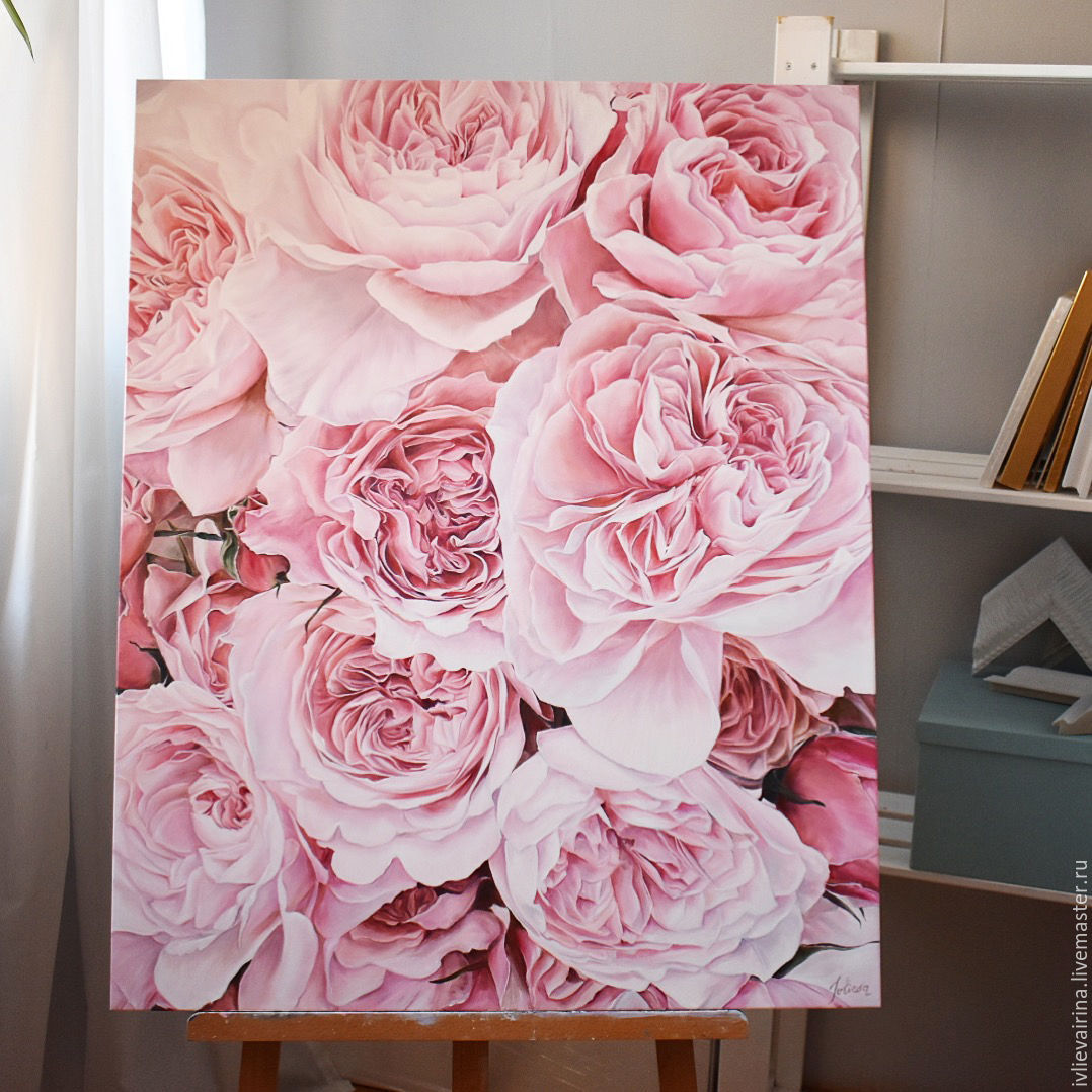 Oil painting Peony rose 80h100 cm, Pictures, Moscow,  Фото №1