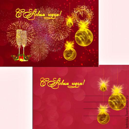 Фото-работы ручной работы. Ярмарка Мастеров - ручная работа. Купить Новогодняя открытка. Handmade. Бордовый, Новый Год, открытка