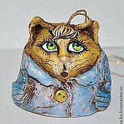 """Сувениры и подарки ручной работы. Ярмарка Мастеров - ручная работа колокольчик """"Кот в пальто"""". Handmade."""