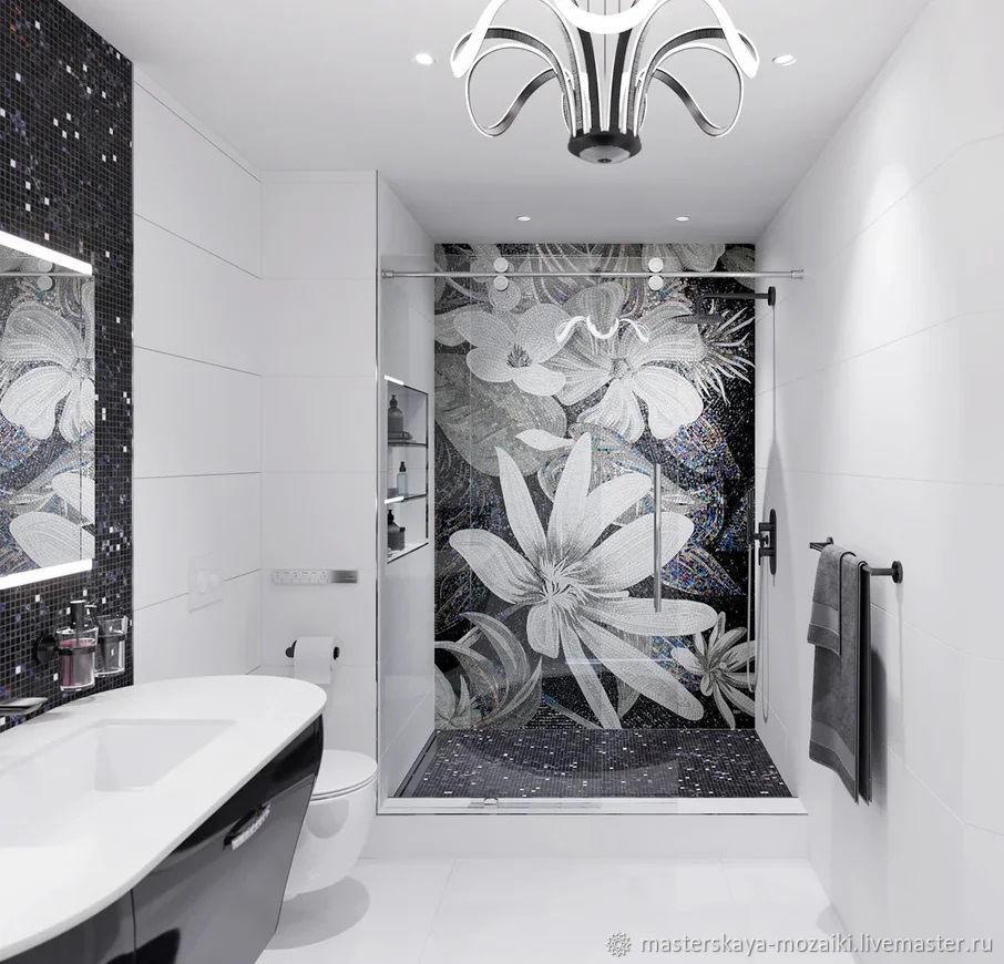 """Мозаика в ванную комнату """"Цветы в черно-белой гамме"""", Панно, Москва,  Фото №1"""