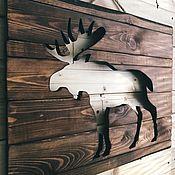 Картины и панно handmade. Livemaster - original item Wooden elk painting panels. Handmade.