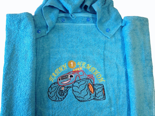 Полотенце детское пончо (с капюшоном) + вышивка - `Папин Чемпион`. Машинная Вышивка с Изюминкой.